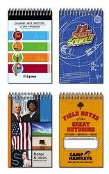 Spiral Bound Pocket Notebook 2.875x4.75 - 50 Sheets  These pocket note pads are a handy tool anyone can use. The entire front cover is customizable with your logo and information. The cover is printed in full color and laminated for extra protection. Inside features 50 lined sheets for taking notes or making lists.