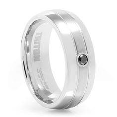VAXEL White Tungsten Ring with Black Diamond. This tungsten mens ring takes suave to the next level. Boasting both satin and high polished finishes. #mensweddingbands #blackdiamonds #mensrings #weddingrings