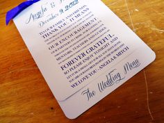 Layered Wedding Menu Card and Guest Thank You Card