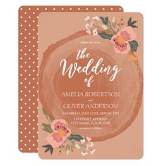 Brown Wood Rustic Floral Wedding Invitation - click/tap to personalize and buy  #wedding #invitation #weddingideas #weddinginspiration  #flower #floral #botanical #garden #outdoor #nature #romantic #editable