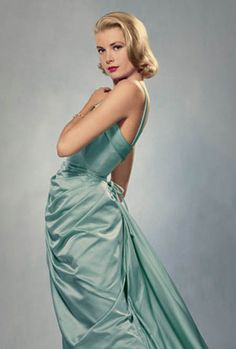 Grace Kelly in the ice-blue Edith Head gown she wore to the 1955 Academy Awards.