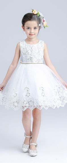 In Stock Sparkling Sequin Lace & Tulle Scoop Neckline Ball Gown Flower Girl Dresses With Bowknot