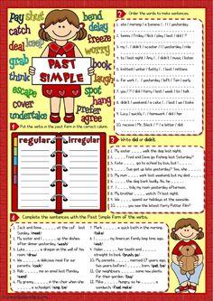 Past simple - 4 tasks Language: English Grade/level: pre-intermediate School subject: English as a Second Language (ESL) Main content: Past simple Other contents: English Fun, English Lessons, Learn English, Simple Past Tense Worksheet, Back To School Art Activity, Tenses Exercises, English Activities For Kids, English Exercises, English Grammar Worksheets