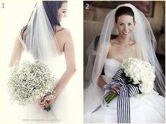 Duelo de bouquets de novia blancos!!! Por un lado tenemos un romántico bouquet hecho con gipsófila y por otro lado tenemos un ramo fresco hecho con hortensias. ¿Cuál ganará?