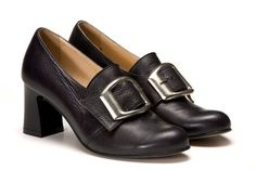 Rococo Womens Black Leather Buckle Shoes Low Chunky Heel Pumps