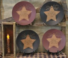 Believe Star Plates Country Primitive