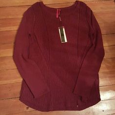 Love Scarlett Sweater Gorgeous brand new knit sweater.  Perfect color for fall and winter.  The quality of this sweater is unbelievable!  Has small details of a metallic red.. can't see in pictures.   I ship either same or next day. love Scarlett  Sweaters Crew & Scoop Necks