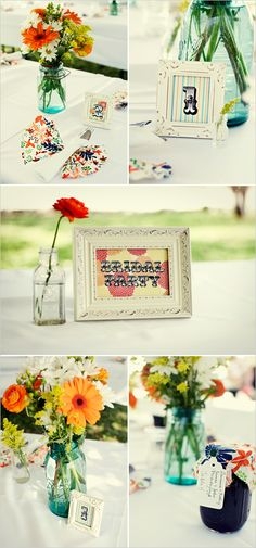 lable the bridal party table :D I also like the picture frame and simple center pieces for other tables.