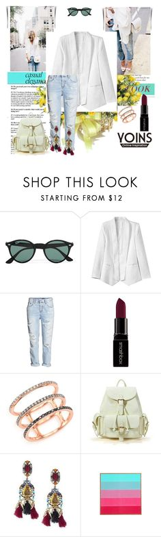 """Yoins 14."" by marijaprusina ❤ liked on Polyvore featuring mode, Ray-Ban, H&M, Smashbox, EF Collection, DENY Designs, women's clothing, women, female en woman"