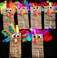 Make these cute paper bag turkey puppets for a thanksgiving craft! The kids love playing with these and they also write what they are thankful for on them.