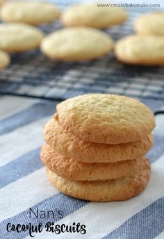 This recipe for my Nan's Coconut Biscuits takes me back to when I was a kid and we used to spend our weekends at Nan's house helping her in the kitchen. Milk Biscuits, Coconut Biscuits, Coconut Cookies, Biscuit Cookies, Yummy Cookies, Anzac Biscuits, Cake Cookies, Vanilla Biscuits, Easy Biscuits