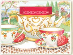 Who doesn't enjoy tea with a friend in the garden as painted on Kimberly Shaw's teacup greeting card.