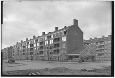 Burg. van Leeuwenlaan in 1955. Op de hoek is de winkel van Végé gevestigd. Eigenaar: de heer Kemming