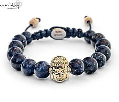 Lapis Lazuli with golden buddha heads Golden Buddha, Buddha Head, Lapis Lazuli, Copenhagen, Unity, Beaded Bracelets, Sterling Silver, Stone, Aur