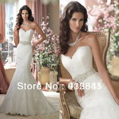 Inform Newly Design Sweetheart White Pearls Featured Lace Trumpet Wedding Dress 2014 $166.00