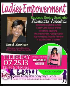 If you need a quick boost to get your mindset back on track so you can focus on your money, get registered!! www.LadiesEmpowerment.com