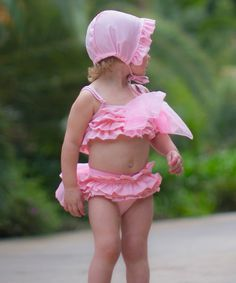 Look at this Trish Scully Child Pink Bow Bikini & Swim Cap - Toddler & Girls on #zulily today!
