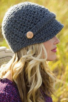 Women's Newsboy Hat by HipHatter on Etsy Crochet Newsboy Hat, Crochet Coat, Crochet Baby Hats, Crochet Yarn, Knitted Hats, Knitting Projects, Crochet Projects, Teen Fashion Photography, Preppy Style Winter