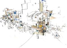 Slums from the overpass March 2013, pen, Ink and Watercolour. This is not an uncommon sight in Mumbai, home to 22 million people (the population of Syria). But a real sense of community, family. Mumbai has this attitude where anything is possible for anyone. Drawn for Medecins sans Frontieres.' George Butler Artist