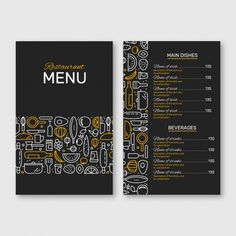 Restaurant Menu Black And Yellow Cafe Menu Design, Menu Card Design, Food Menu Design, Restaurant Logo Design, Stationary Design, Food Menu Template, Restaurant Menu Template, Menu Templates, Flyer Template
