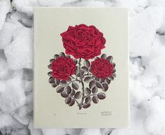 """RUBY RED ROSE"" Woodcut Print by Tugboat Printshop, 2014. 