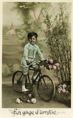 Vintage boy on bike