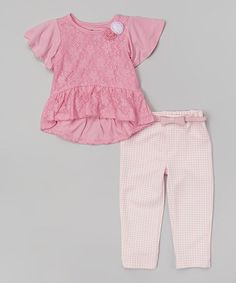 Pink Lace Ruffle Tunic & Houndstooth Belted Leggings - Infant #zulily #zulilyfinds