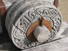 Celtic knot wooden wheel, Castle Urquhart