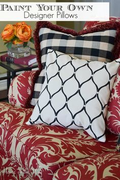 Paint your own designer style pillows with the Paint-A-Pillow kit from houseontheway.com. It's a great, easy way to create your own beautiful pillows.