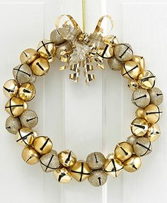 All The Trimmings Christmas Decoration, Gold Jingle Bell Wreath
