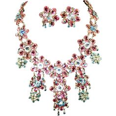 Roger JEAN PIERRE, Marked MADE IN FRANCE, Pink, Blue & Clear Crystal Floral Pendant Necklace & Clip Earrings from Sharon's Sparkles on Ruby Lane