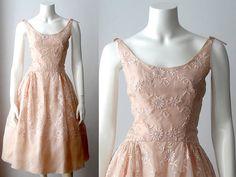 1950s dress / embroidered 50s dress / peach organza dream dress