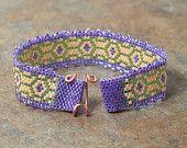 Lavender Art Nouveau Peyote Stitch Beaded Bracelet
