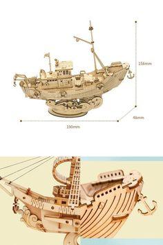Diy 3d Wood Vintage Sailing Ship Assembly Boat Toy Present wooden #shipmodelkits #Present