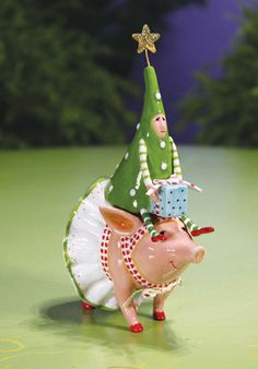 Patience Brewster Joyful Pig & Tree Rider Salt & Pepper Shaker. By Krinkles creator Patience Brewster. Whimsical Fun and Colorful Christmas Decorations.