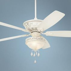 The Casa Montega ceiling fan comes loaded with charm in a distressed, antique white rubbed finish. Style # at Lamps Plus. Ceiling Fan Chandelier, White Ceiling Fan, Chandeliers, Ceiling Fans, Bedroom Fan, Master Bedroom, Bedroom Ideas, Dream Bedroom, Salon Style