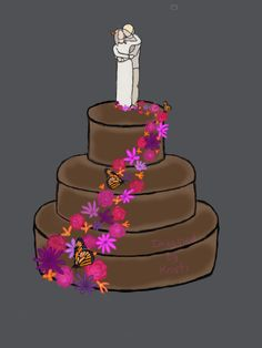 A drawing of my future wedding cake as I imagined it