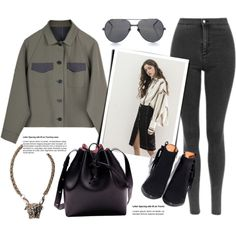 Skinny Jeans by genuine-people on Polyvore featuring polyvore, fashion, style, Linda Farrow, clothing, black, GREEN and olive
