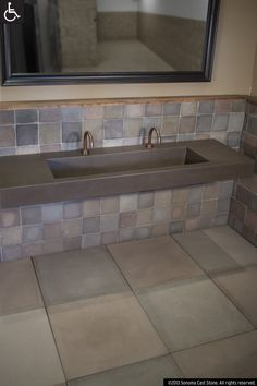 Our Most Versatile Design, Ramp Sinks slope to order! Front, back, side, center ramps, all with great possibilities for color coordination. Faucet placement and countertop are to spec. With this enigmatic creation, water flows down the ramp and vanishes into an obscured slot drain, no visible hardware. In EarthCrete™ concrete, lighter, stronger, more colorful, sustainable and UN-stainable! IAPMO-listed, can be ADA-complaint. On cabinetry or floated between walls, natural or designer colors.
