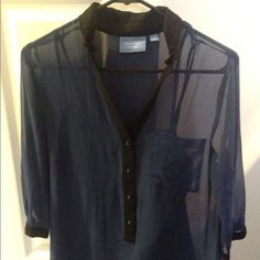 Simply Vera by Vera Wang top Shear blouse. Back is open and makes a cute detail! Wore a few times in great condition! Purchased from kohls. Simply Vera Vera Wang Tops Blouses