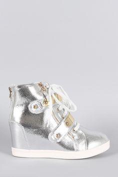 Metallic Zipper High Top Lace Up Wedge Sneaker