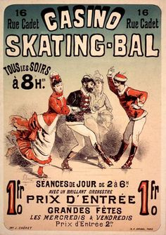 A vintage French advertising poster Casino Skating Bal by Jules Cheret