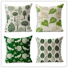 New Design Tropical Leaves Green Tree Decor Cushion Cover Linen Cotton Sofa Throw Pillow Case Decorative Cojines