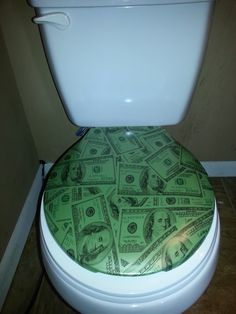 Hydro dipped, water transfer print, Toilet seat. Sitting on a million bucks,