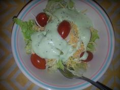 Texas salad with 3 cheese plus parmesan tomatoes green sauce