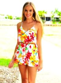 Multi Jump Suits/Rompers - Bright Floral Print Sleeveless Playsuit | UsTrendy