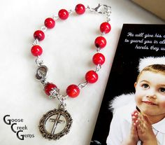 Rosary Bracelet with Precious Coral Gemstones by GooseCreekGems
