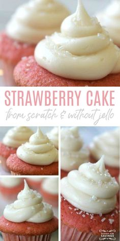 Homemade Strawberry Cake from Scratch without Jello! Simple Homemade Cake Recipe with Your Favorite Strawberry Flavors and Without Jello! This is the perfect party cake recipe! cake recipe Strawberry Cake Recipe from Scratch Strawberry Cake From Scratch, Strawberry Cupcake Recipes, Fresh Strawberry Cake, Best Homemade Strawberry Cake Recipe, Recipes For Strawberries, Strawberry Birthday Cake, Cupcake Recipes From Scratch, Easy Cupcake Recipes, Homemade Cake Recipes