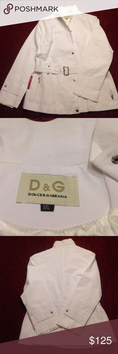 Dolce & Gabbana Jacket Size XXL used in great condition except for slight discoloration on the seam of one sleeve and on front belt loop, hardly noticeable shown in pictures. Measurements of the jacket are all the way around the jacket from front to back is 38 inches in the waist and armpit to armpit length is 19 1/2 inches. Runs small for XXL Dolce & Gabbana Jackets & Coats