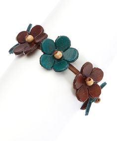 Look at this PANNEE JEWELRY Blue & Brown Flower Leather Bracelet on #zulily today!